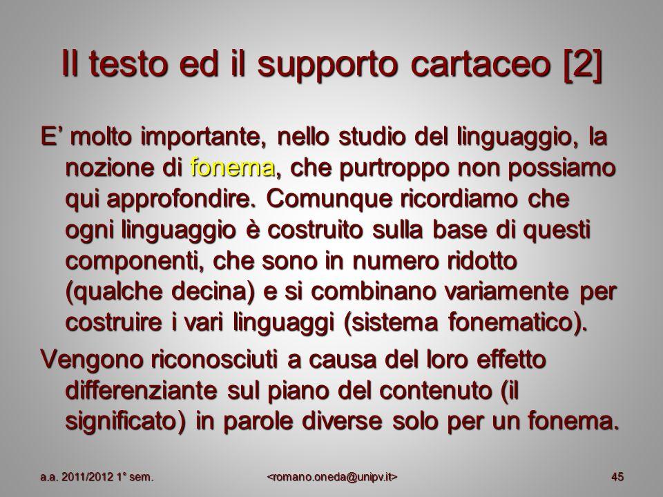 Il testo ed il supporto cartaceo [2]